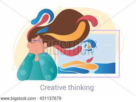 Cute Female Character With Colorful Hair Is Creative Thinking On White Background. Concept Of People