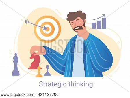 Bearded Smiling Male Character Is Using Strategic Thinking For Chess Play On White Background. Peopl