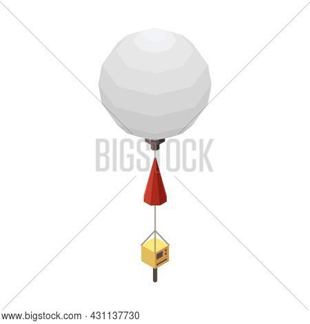 Meteorology Weather Forecast Isometric Composition With Isolated Image Of Flying Meteorological Ball