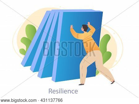 Male Character Is Holding Big Blue Blocks And Showing His Resilience On White Background. Concept Of
