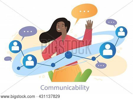 Smiling Female Character Is Talking To A Lot Of People To Show Her Communicability On White Backgrou