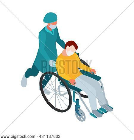 Isometric Infectious Disease Doctor Scientist Virologist Composition With Patient In Mask On Wheelch