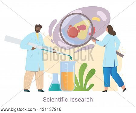 Cheerful Team Of Medical Workers Is Conducting Scientific Research Together On White Background. Con