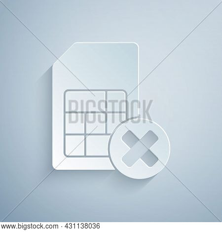 Paper Cut Sim Card Rejected Icon Isolated On Grey Background. Mobile Cellular Phone Sim Card Chip. M