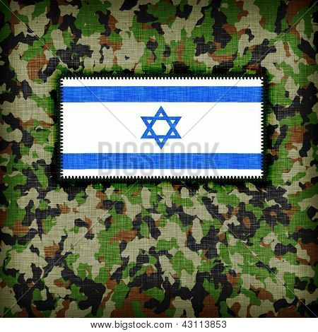 Amy camouflage uniform with flag on it Israel poster