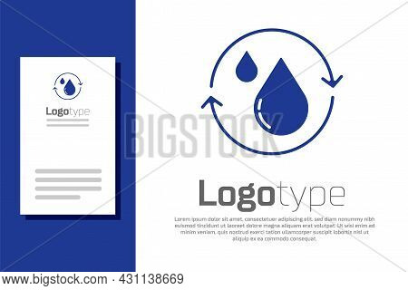 Blue Recycle Clean Aqua Icon Isolated On White Background. Drop Of Water With Sign Recycling. Logo D