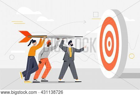 Male And Female Characters Holding Dart Aiming On Bullseye Target Together. Concept Of Team Business
