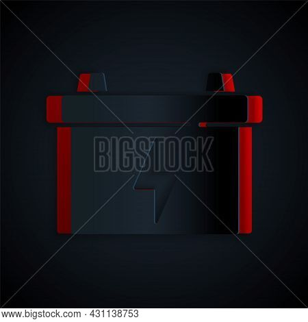 Paper Cut Car Battery Icon Isolated On Black Background. Accumulator Battery Energy Power And Electr