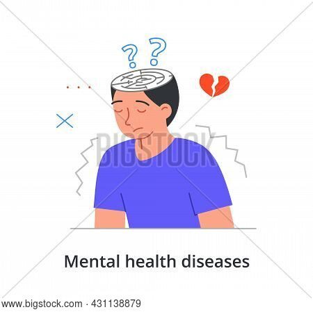 Unhappy Male Character Is Suffering From Mental Health Diseases On White Background. Concept Of Livi