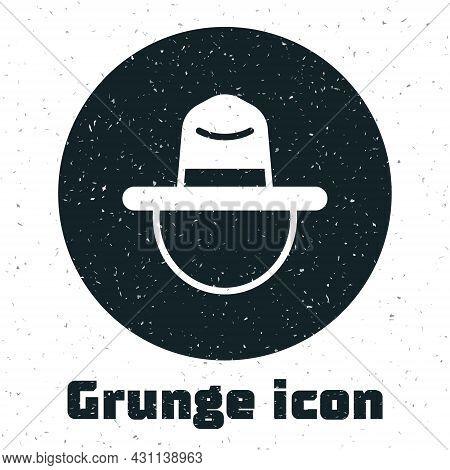 Grunge Canadian Ranger Hat Uniform Icon Isolated On White Background. Monochrome Vintage Drawing. Ve