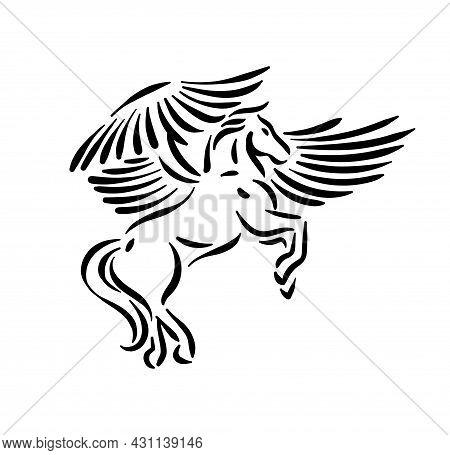Magic Mythology Animal Pegasus, Fantasy Horse With Wings Logo Icon