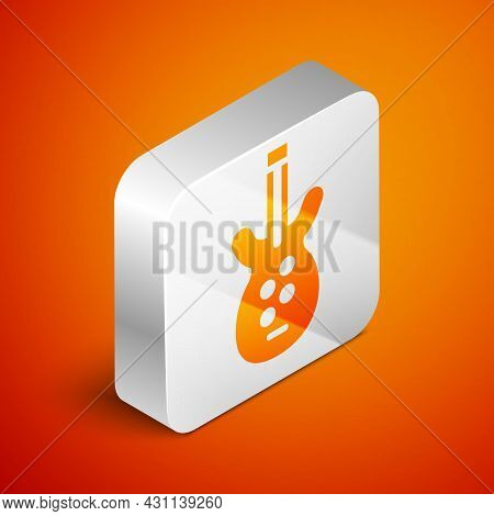 Isometric Electric Bass Guitar Icon Isolated On Orange Background. Silver Square Button. Vector