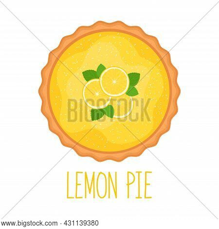 Lemon Pie With Coconut Flakes On White Background, Top View, Vector Illustration