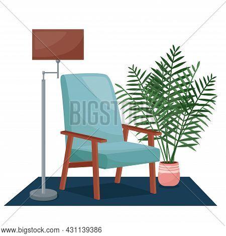Living Room Interior. Armchair, Floor Lamp And Houseplant, Vector Illustration