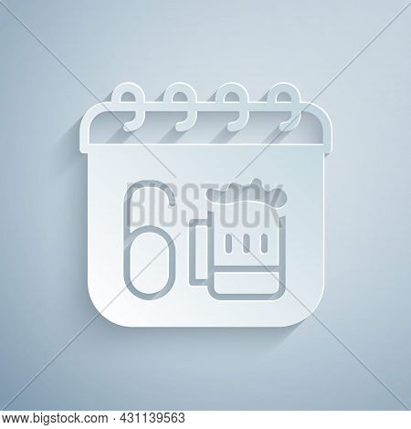 Paper Cut Saint Patricks Day With Calendar Icon Isolated On Grey Background. Four Leaf Clover Symbol