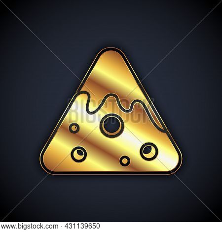 Gold Nachos Icon Isolated On Black Background. Tortilla Chips Or Nachos Tortillas. Traditional Mexic