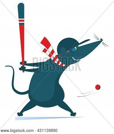 Baseball Batter Rat Or Mouse Hitting Pitch Illustration. Cartoon Baseball Hitter Rat Or Mouse Swingi