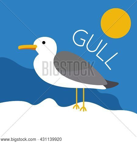Cute Seagull Against The Background Of The Sky And The Sun. Bird And Animals. Vector Flat Illustrati