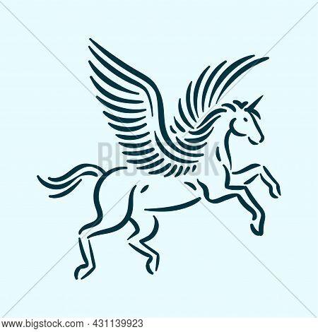 Magic Mythology Animal Unicorn, Fantasy Horse With Wings Logo Icon