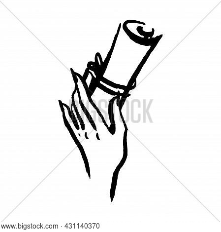 Magic Mystical Witch Spell Scroll Hand Drawn Illustration