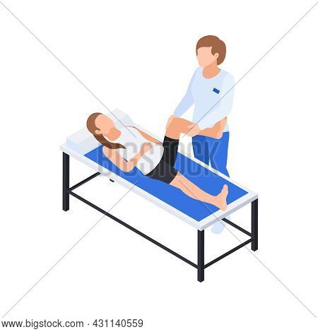 Physiotherapy Rehabilitation Isometric Composition With Doctor Doing Leg Massage To Lying Patient Ve