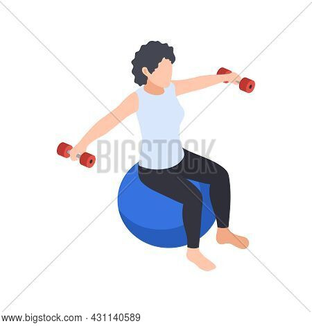 Physiotherapy Rehabilitation Isometric Composition With Woman Sitting On Ball Spreading Hands With B