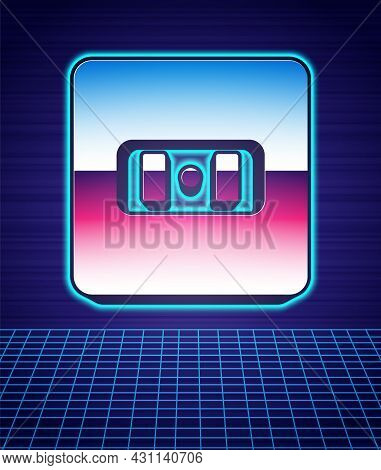 Retro Style Electrical Outlet Icon Isolated Futuristic Landscape Background. Power Socket. Rosette S