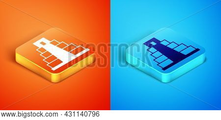 Isometric Chichen Itza In Mayan Icon Isolated On Orange And Blue Background. Ancient Mayan Pyramid.