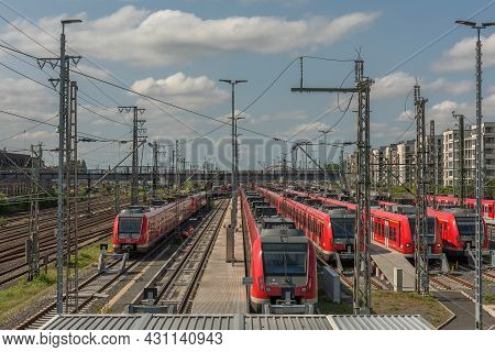 Parking Trains Of The Urban-suburban Rail On The Tracks Of The Central Station Frankfurt Am Main, Ge