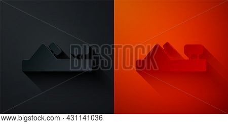 Paper Cut Wood Plane Tool For Woodworker Hand Crafted Icon Isolated On Black And Red Background. Joi