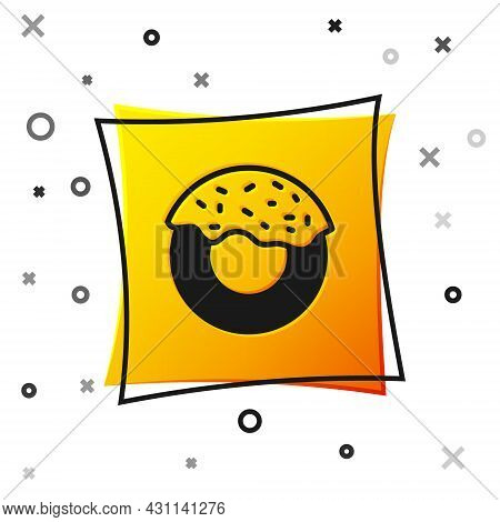 Black Donut With Sweet Glaze Icon Isolated On White Background. Yellow Square Button. Vector