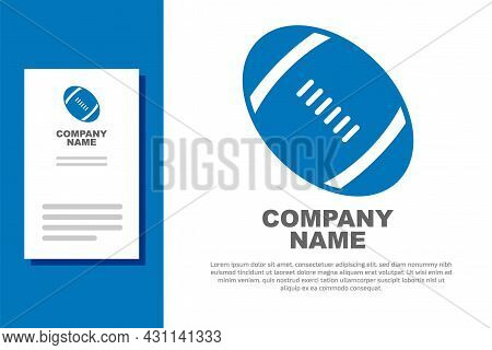 Blue American Football Ball Icon Isolated On White Background. Rugby Ball Icon. Team Sport Game Symb