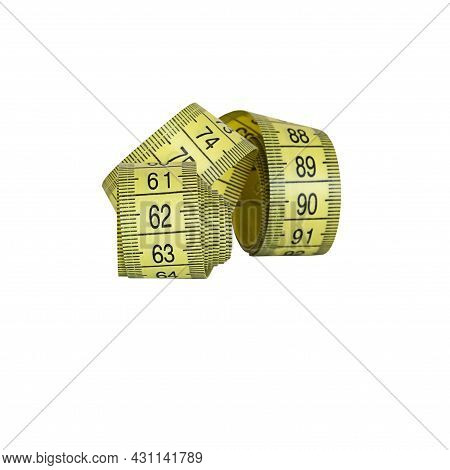 Centimeter Tape, Fitness And Weight Loss. Tailor's Meter, For Sewing. A Meter For Measuring The Figu