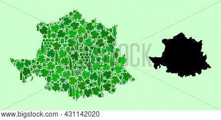 Vector Map Of Caceres Province. Collage Of Green Grape Leaves, Wine Bottles. Map Of Caceres Province