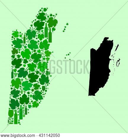 Vector Map Of Belize. Collage Of Green Grape Leaves, Wine Bottles. Map Of Belize Mosaic Formed With