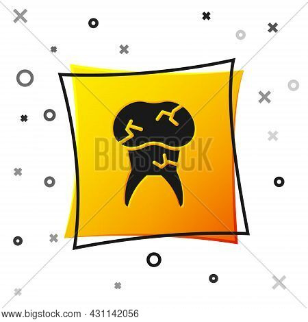 Black Tooth With Caries Icon Isolated On White Background. Tooth Decay. Yellow Square Button. Vector
