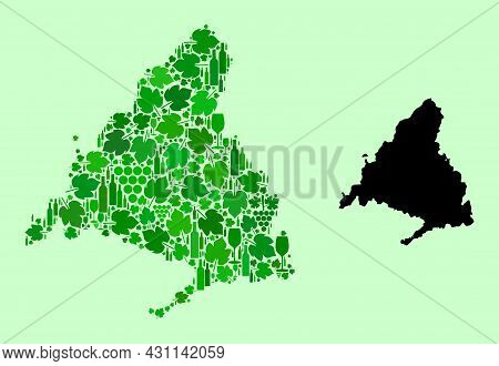 Vector Map Of Madrid Province. Mosaic Of Green Grape Leaves, Wine Bottles. Map Of Madrid Province Mo