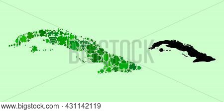 Vector Map Of Cuba. Combination Of Green Grapes, Wine Bottles. Map Of Cuba Collage Formed From Bottl
