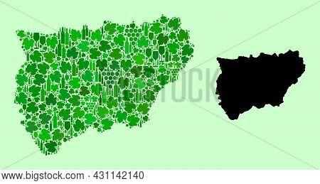Vector Map Of Jaen Spanish Province. Mosaic Of Green Grape Leaves, Wine Bottles. Map Of Jaen Spanish