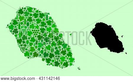 Vector Map Of Graciosa Island. Collage Of Green Grapes, Wine Bottles. Map Of Graciosa Island Collage
