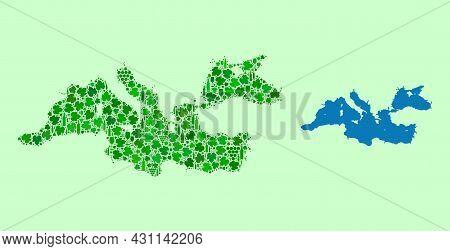 Vector Map Of Mediterranean Sea. Mosaic Of Green Grape Leaves, Wine Bottles. Map Of Mediterranean Se