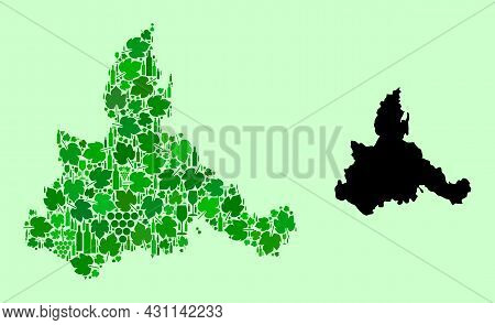 Vector Map Of Zaragoza Province. Composition Of Green Grape Leaves, Wine Bottles. Map Of Zaragoza Pr