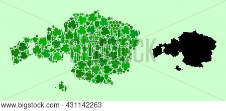 Vector Map Of Vizcaya Province. Mosaic Of Green Grape Leaves, Wine Bottles. Map Of Vizcaya Province