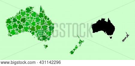 Vector Map Of Australia And New Zealand. Mosaic Of Green Grape Leaves, Wine Bottles. Map Of Australi