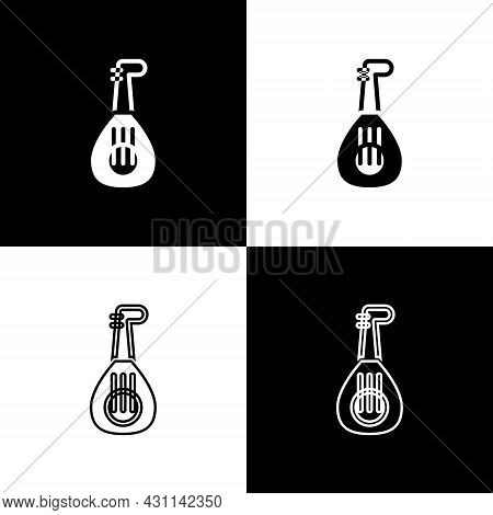 Set Musical Instrument Lute Icon Isolated On Black And White Background. Arabic, Oriental, Greek Mus