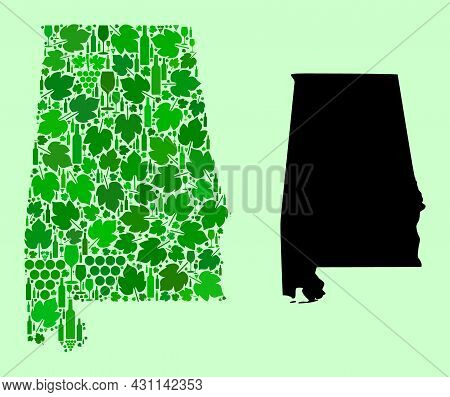 Vector Map Of Alabama State. Mosaic Of Green Grapes, Wine Bottles. Map Of Alabama State Mosaic Forme