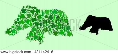 Vector Map Of Rio Grande Do Norte State. Mosaic Of Green Grape Leaves, Wine Bottles. Map Of Rio Gran
