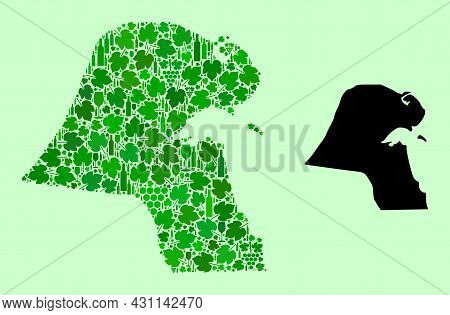 Vector Map Of Kuwait. Collage Of Green Grape Leaves, Wine Bottles. Map Of Kuwait Collage Designed Fr