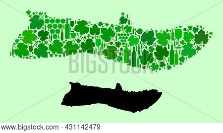 Vector Map Of Molokai Island. Mosaic Of Green Grapes, Wine Bottles. Map Of Molokai Island Mosaic For