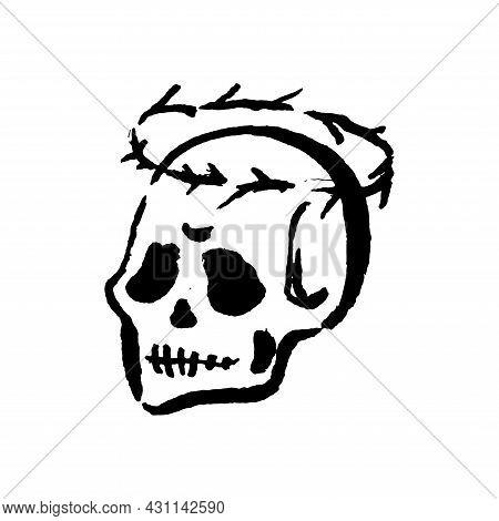 Mysticism Witchcraft Occult Skull Hand Drawn Illustration Set